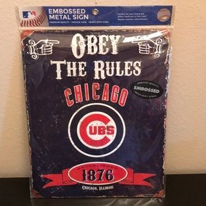 New Chicago Cubs embossed metal sign